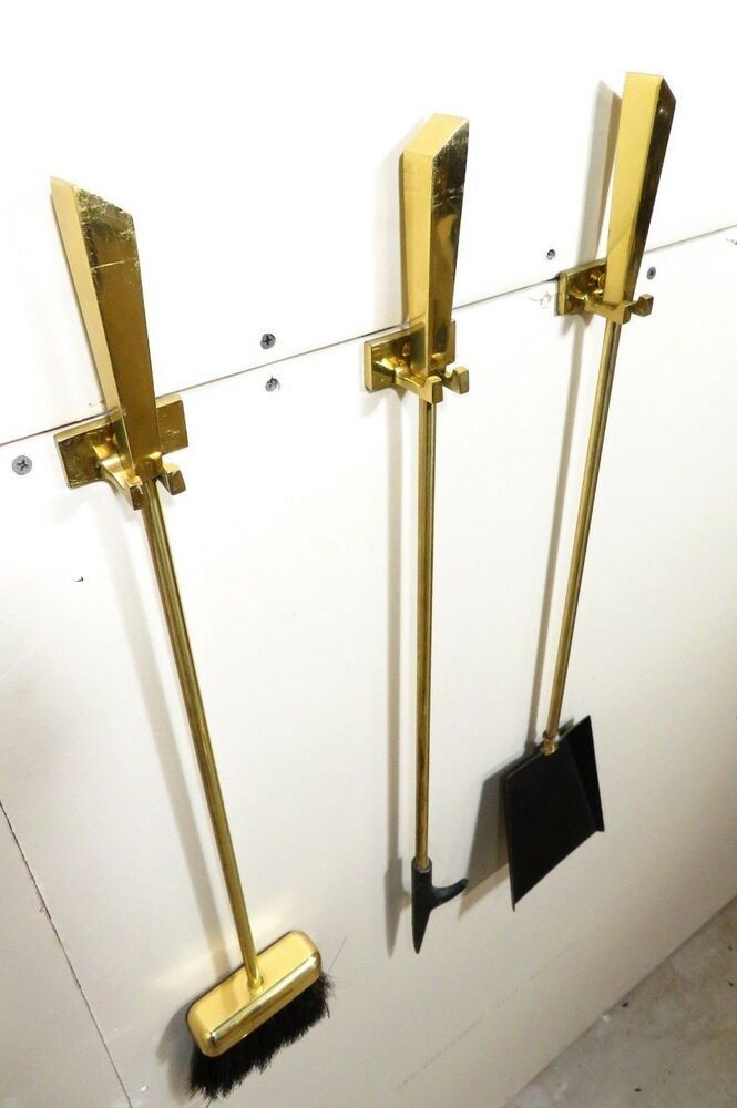 Rare Mid Century Modernist Solid Brass Wall Mount Fireplace Hanging Tool Set Ebay Wall Mount Fireplace Wall Mounted Fireplace Mid Century Modern Door