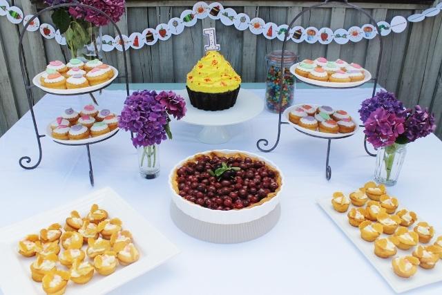 hungry caterpillar - cherry pie and fondant cupcakes