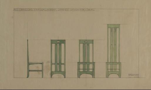 art nouveau esquisses et croquis charles rennie mackintosh chaises dossier haut art. Black Bedroom Furniture Sets. Home Design Ideas