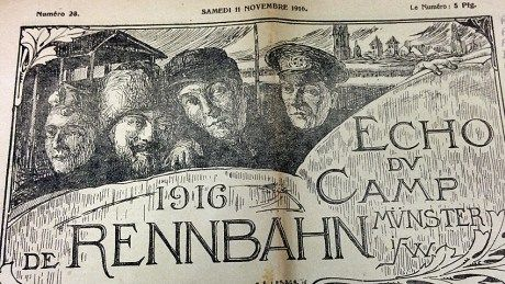 November 18, 1916 edition of the Rennbahn Camp newspaper, produced in part by Canadian POWs. #WW1 #cdnhistory