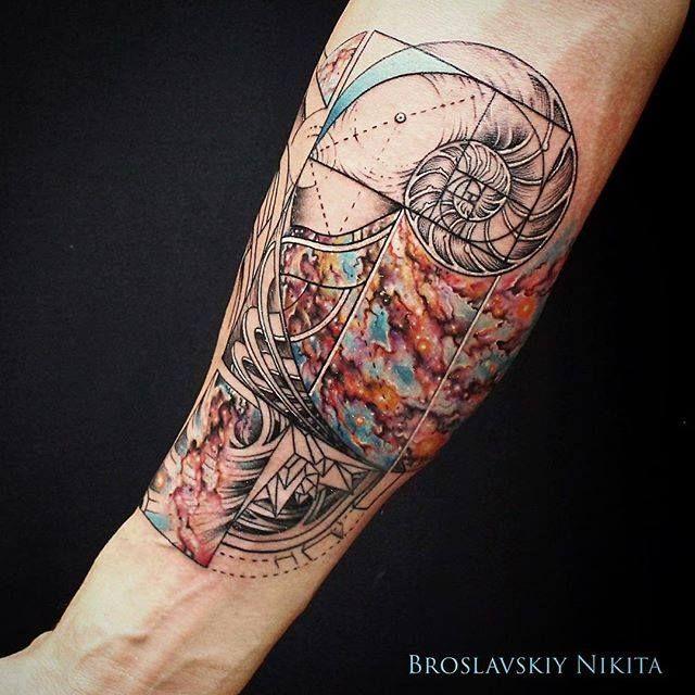 The work of Nikita aka Nick Broslavskiy uses the colors of nebula teamed with old engravings.