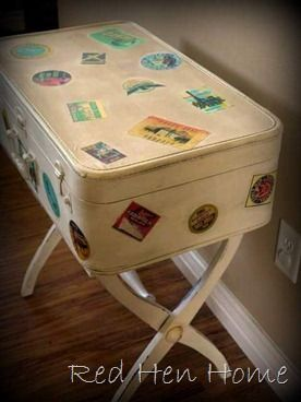 """How to make a suitcase look """"vintage"""", and turn it into a small table if you'd like=D"""
