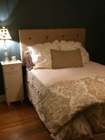 How to make a simple rectangular headboard out of burlap with buttons