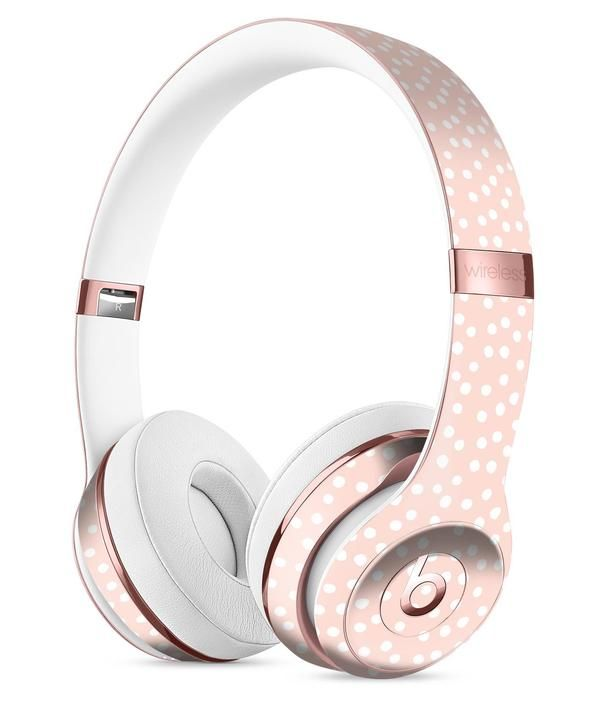 The Coral and White Micro Polka Dots Full-Body Skin Kit for the Beats by Dre Solo 3 Wireless Headphones