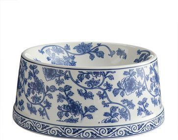 Blue and White Porcelain Pet Bowl - traditional - pet accessories - Wisteria