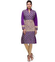 Buy purple and white acrylic wool blend embroidered kurti kurtas-and-kurti online