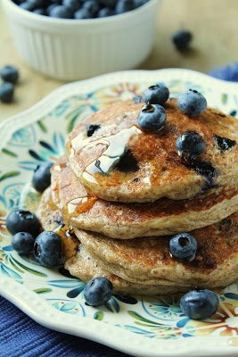 Oatmeal Cottage Cheese Pancakes with Blueberries. Made with cottage cheese, oats, flax (no wheat) and yummy!