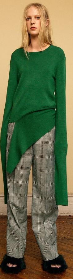 @roressclothes closet ideas #women fashion outfit #clothing style apparel green jumper, gray pants