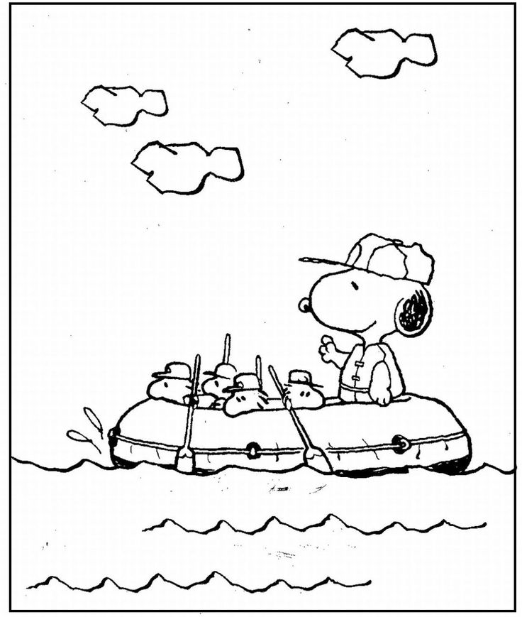 snoopy and woodstock rafting coloring picture for kids - Snoopy Pictures To Color