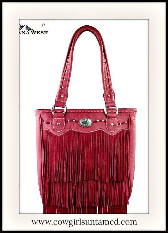 COWGIRL GYPSY HANDBAG Red Fringe Boho Style Double Strap Handbag  #designer #handbag #fringe #red #studded #beautiful #gypsy #cowgirl #western #boutique
