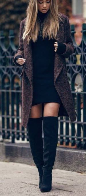 I love this turtleneck dress with these over the knee black boots