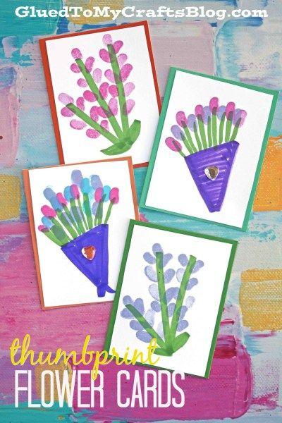 Thumbprint Flower Cards - Spring Kid Craft Idea