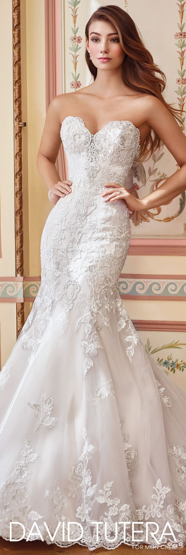 Strapless embroidered Schiffli lace on tulle over organza and satin mermaid gown with plunging scalloped sweetheart neckline and illusion modesty panel - David Tutera for Mon Cheri - 117284 Danae