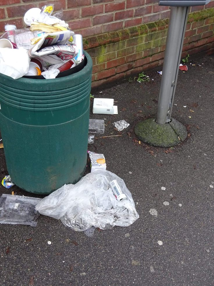 6th February 2017 - a piece of random garbage on the street. Overflowing bin outside Green Street Green bus garage.