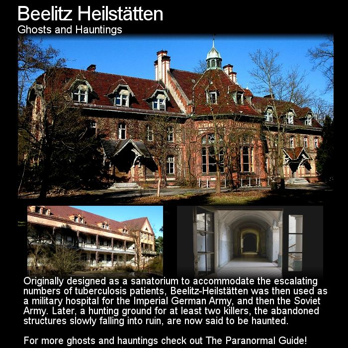 Beelitz Heilstätten. A little south west of Berlin lies the town of Beelitz which is home to an abandoned hospital/sanatorium with many many beautiful beuldings left to decay... and a few ghost stories. Head to this link for more: http://www.theparanormalguide.com/blog/beelitz-heilstatten