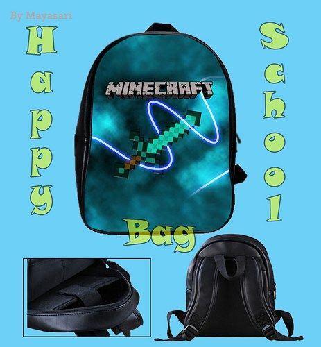 Custom School Bag - MINECRAFT Bag  This high-quality  school bag is the perfect accessory for school children. Made from high-grade PU leather. It is the perfect way for children to carry all of their