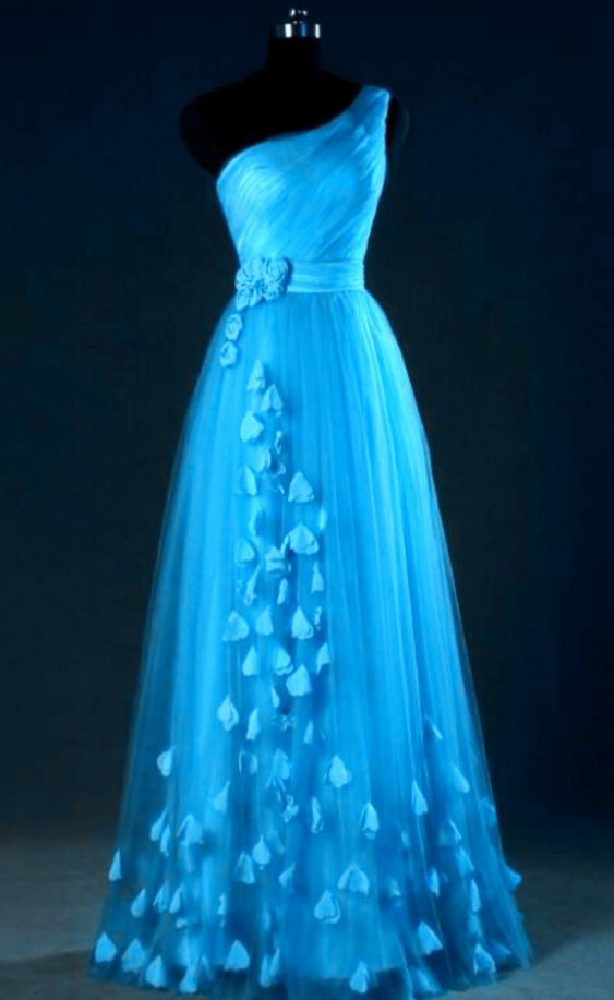 Blue One Shoulder Tulle Party Dress with Floral