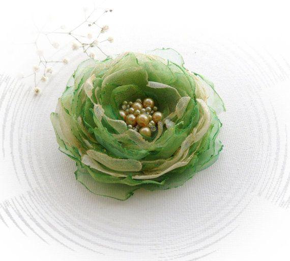 Organza Flower Brooch - Fabric Flower - Corsage Brooch - Gold Green Flower - Party Wedding Accessory