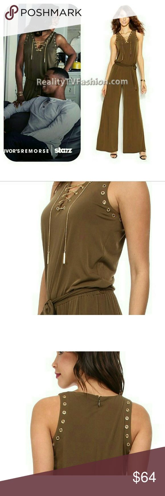 """Michael Kors Jumpsuit Tv show called """"Survivor's Remorse"""" Cassie Calloway (Tichina Arnold) appeared in this Michael Kors Sleeveless Lace Up Jumpsuit in Duffle. This Michael Kors soft jersey jumper has a V-neckline, lace up chain placket, elastic waist and grommet detail to the neckline and sleeves. *does not have a belt* Size Med. Worn once, great condition Michael Kors Pants Jumpsuits & Rompers"""