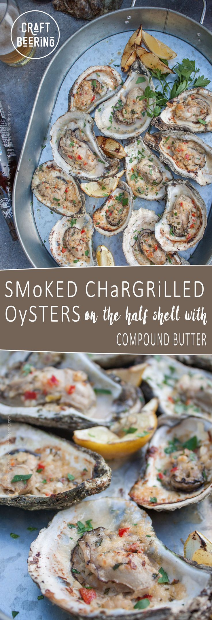Chargrilled oysters on the half shell. Smoked with mesquite and apple wood. Bathed in butter compound. Pair with a Pilsner