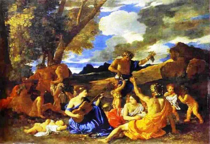 Nicolas Poussin ~ Andrianen of Het grote bacchanaal met luitspelende vrouw ~ ca. 1632-1633 ~ Olieverf op doek ~ 120,6 x 175,2 cm. ~ Musée du Louvre, Parijs