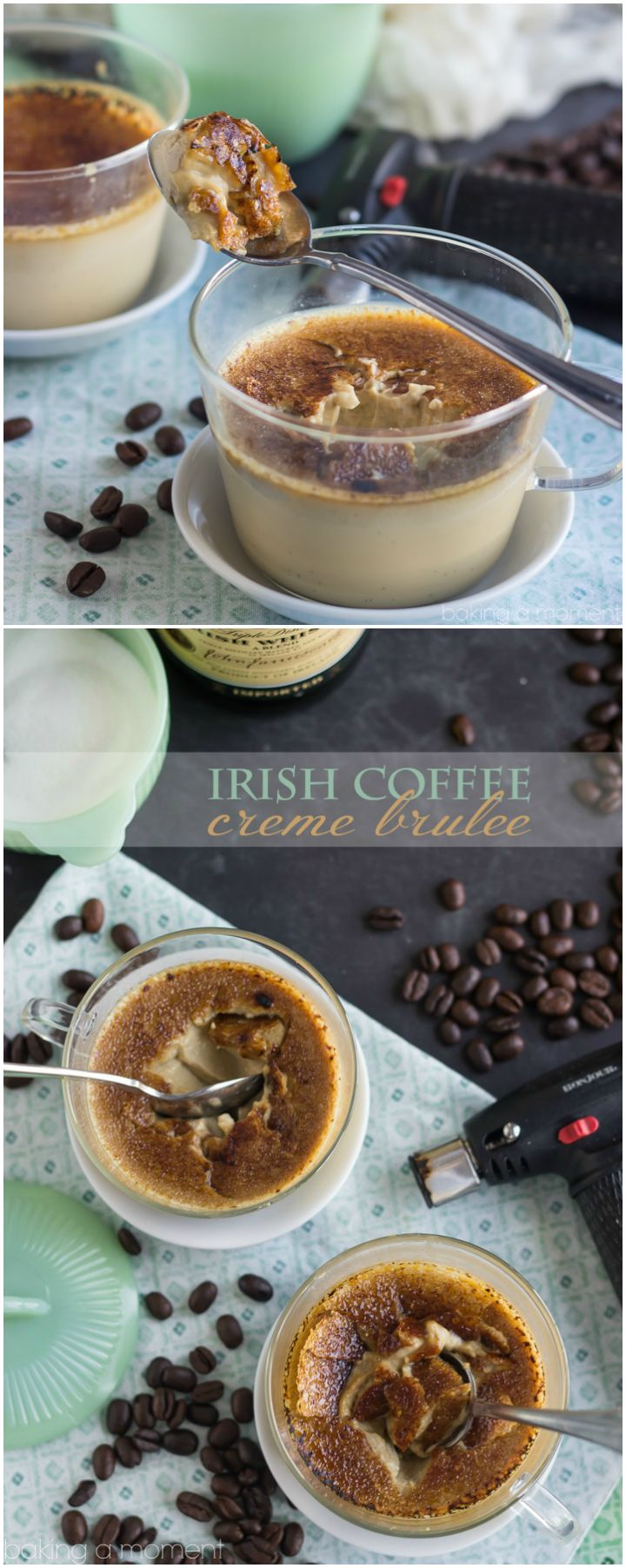 I made this Irish Coffee Creme Brulee in just 10 minutes and it was the bomb! The crackly burnt sugar was sooo good with the coffee and boozy flavors!