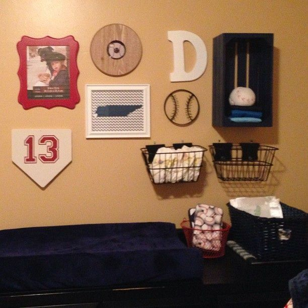 Baseball Gallery Wall Navy Boy Nursery