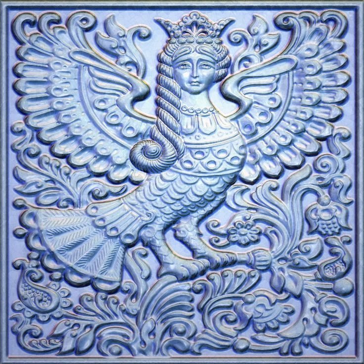 Alkonost Bird. Bird of Sorrows. Character of Russian mythology.