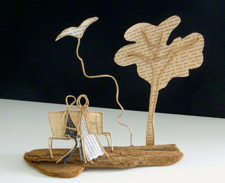Les amoureux du Printemps - figurines en ficelle et papier : Accessoires de maison par ficelleetpapier