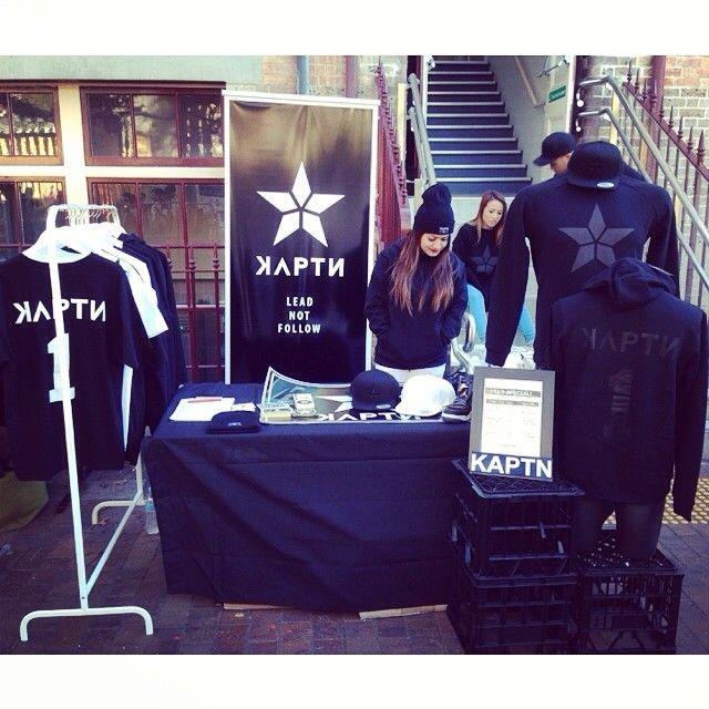 Earlier today at the TKS Swap meet. KAPTN crew in full gear. Thank you all to those that supported us!  #kaptn #kaptnbrand #kaptncrew #leadnotfollow #thekickzstand #sydney #meet #kicks #sneaker #sneakerhead #jordans #pyrmont #australia #clothing #apparel #brand #streetwear (at Pyrmont Community Centre)