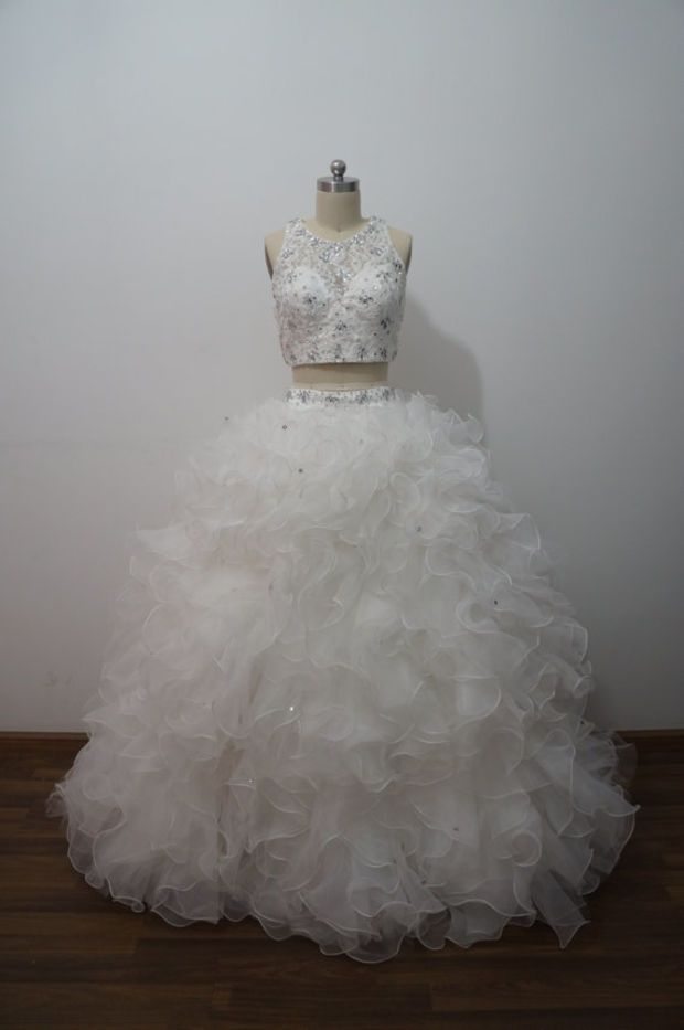 Two Piece Prom Dress Ball Gown Quinceanera Dress for 15 years ,Sweet 16 Dresses with Free Shawl ,White Organza Crystal Formal Pageant Dress