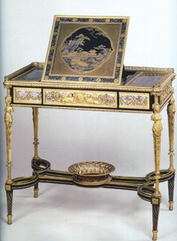 Marie Antoinette's writing table ~ made by Adam Weisweiler; commissioned & delivered by Dominique Daguerre (the most prominent marchand-mercier of the day [entrepreneur, decorative art dealer, interior designer]) for the Queen's 29th birthday on November 2, 1784. Made of ebony and sycamore veneer with lacquer, bronze and steel (now in the Louvre, Paris).