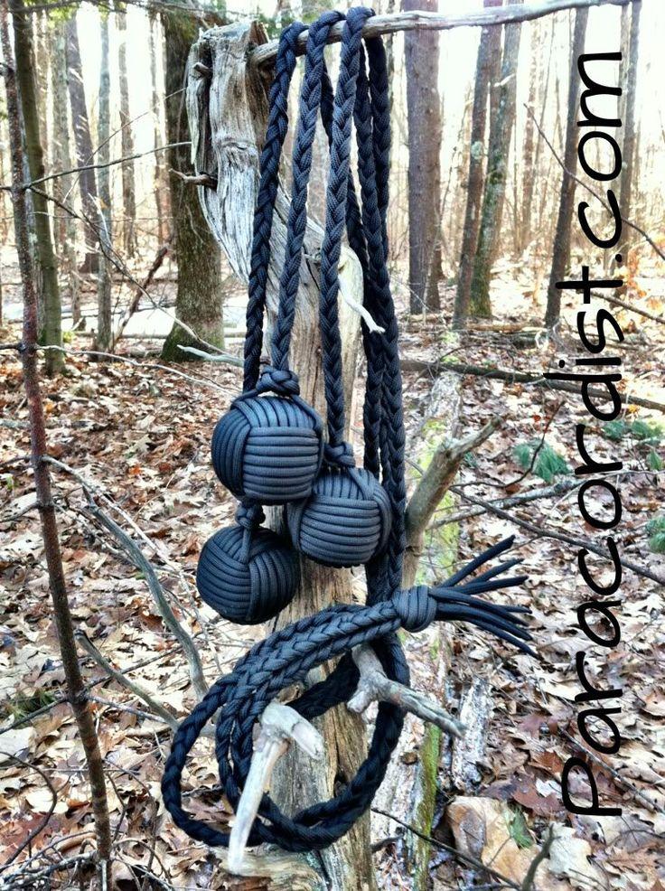 http://www.paracordist.com #survival #paracord #Paracordist Creations LLC - Paracord Bolas / Boleadora with Triple Steel Ball Monkey Fists, $99.95 (http://www.paracordist.com/paracord-bolas-boleadora-with-triple-steel-ball-monkey-fists/)