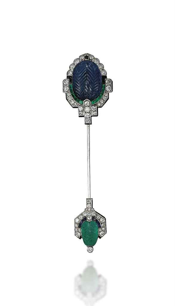 An art deco sapphire, emerald and diamond jabot pin, by Cartier #christiesjewels