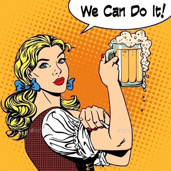 Girl waitress with beer says we can do it. Oktoberfest beer festival brewery restaurant holiday party. Womens business strong gend #beerfestival