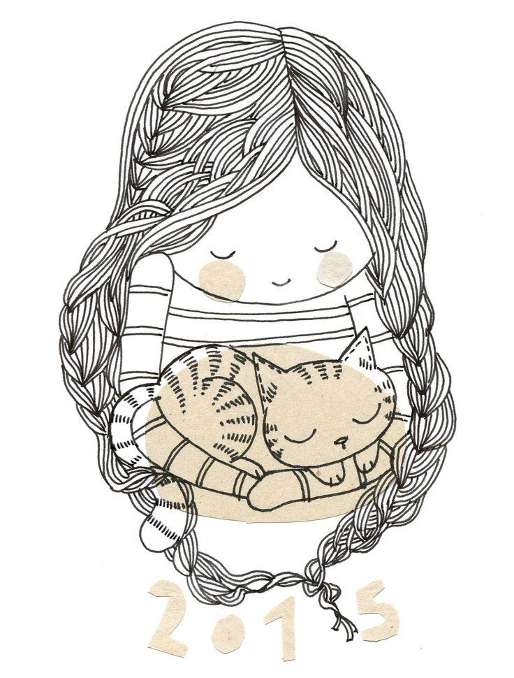 2015 fille au chat, Cécile Hudrisier