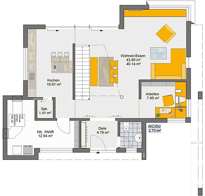 Grundriss Erdgeschoss - Büdenbender Hausbau parcival