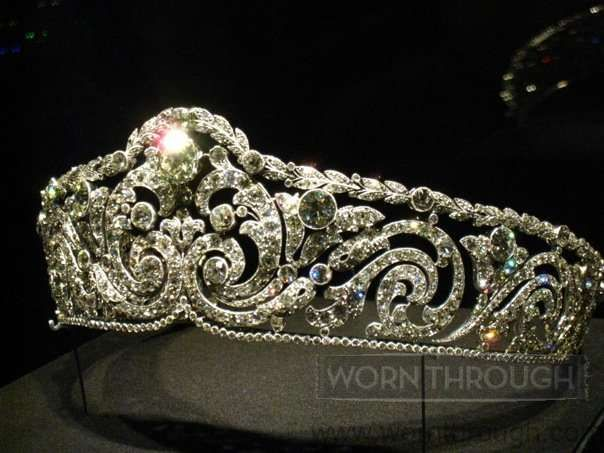 Alt view of  Queen Elizabeth's diamond diadem, created by Cartier in 1910. Queen Elizabeth was born a duchess in Bavaria and married Prince Albert, second-in-line to the throne of Belgium, and later became Queen of the Belgians in 1909, upon her husband's accession to the throne following the death of his father King Leopold II. See Diamonds I