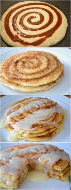Breakfast For Champs   FooF Drink: Cinnamon Roll Pancakes   yummmmmmmmmmmmmy   I love cinnamon roll anything   spectacular recipe