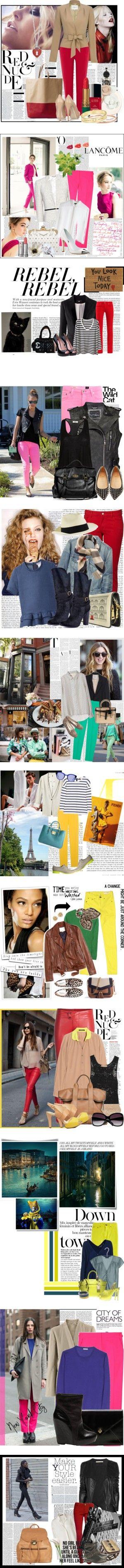 Bright pants by fahionfreak7 on Polyvore featuring мода, Warehouse, Valentino, Chanel, Revlon, CÉLINE, Miu Miu, Tiffany & Co., skinny pants and celine