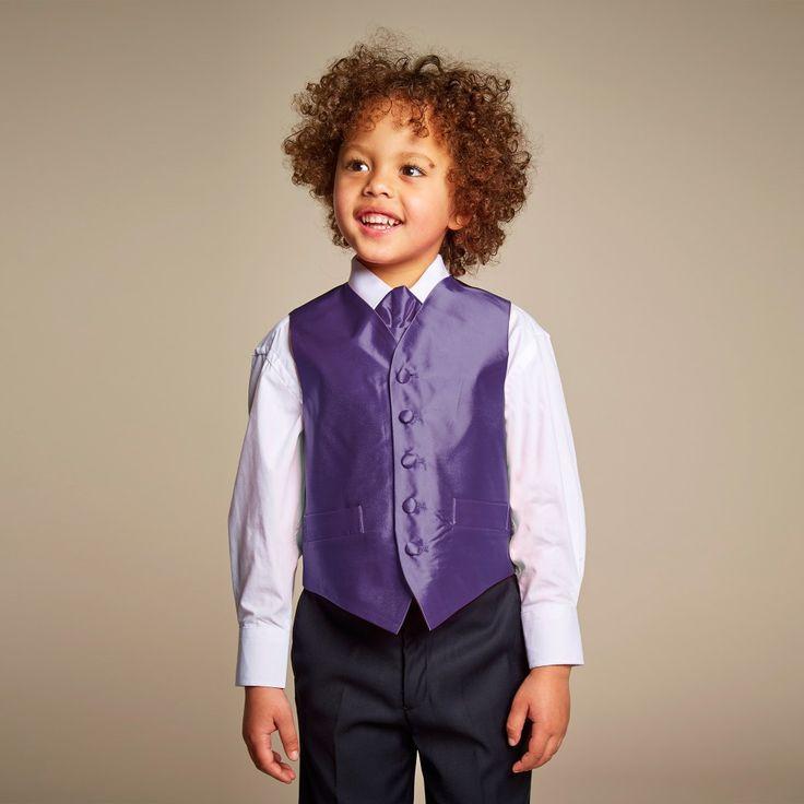 Romano Boys satin waistcoat available @Childrensalon. #Romano #Boy #Satin #Waistcoat #Purple