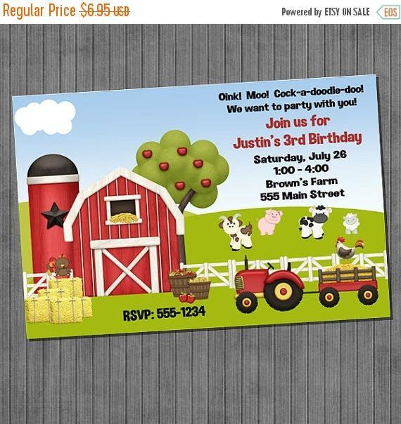 EN venta granja cumpleaños invitaciones