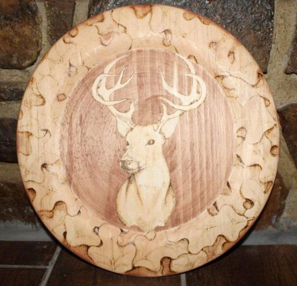 Buck Hand Burned Charger Plate With Oak Leaves By
