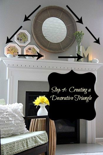 Ideas On How To Decorate A Mantel Using Decorative Triangle And Mirrors