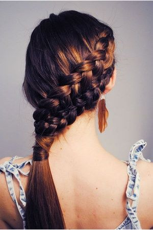 side french braid doubled up and turned into a ponytail