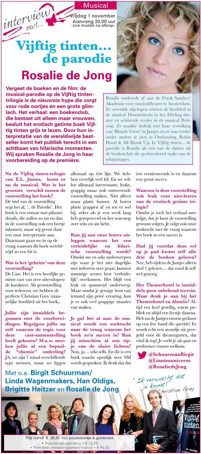 Voor onze theaterkrant de 'Spotlights' spraken wij Rosalie de Jong over haar rol in de theaterhit van dit moment: vijftig tinten...de parodie