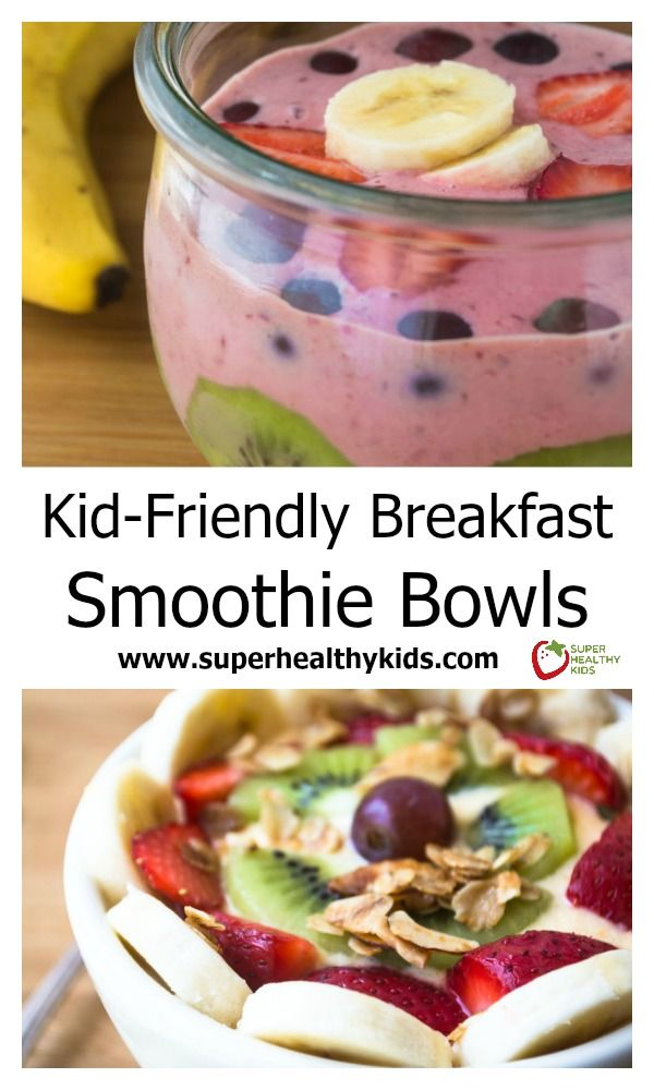 Breakfast Smoothie Bowl. Combines so many delicious and healthy ingredients into one breakfast bowl that kids love! www.superhealthykids.com/kid-friendly-breakfast-smoothie-bowls