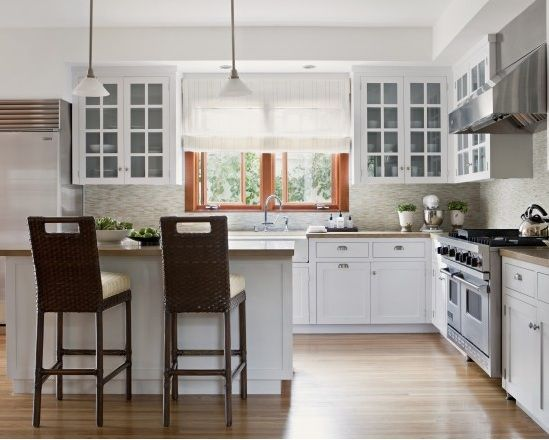 White Kitchen Cabinets With Stained Trim
