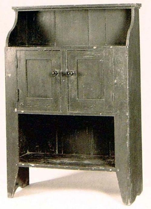 Early Painted Bucket Cupboard In Original Grey Paint
