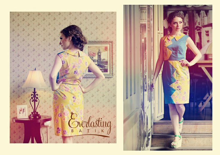 Yellow Combination Batik Dress by Everlasting Batik
